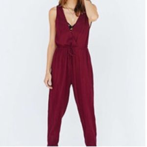•Haoyouduo• NWT Wine V-Neck Sleeveless Jumpsuit